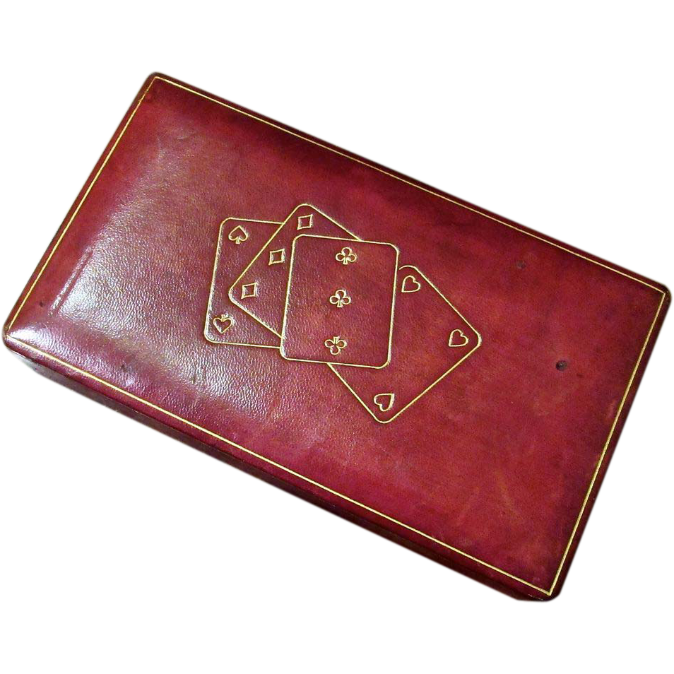 Vintage Playing Card Box Leather Playing Card Box