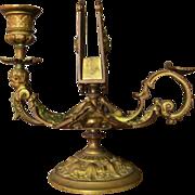 Ornate Antique Bronze Chamber Stick With Match Holder