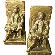 A Pair Of Mark Twain Bronze Plated Bookends, Circa 1925