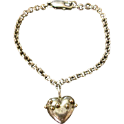 Sterling Silver Link Bracelet With Sterling And 14K Heart Pendant