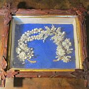 Antique Shell Bridal Wreath Shadow Box, Circa 1880