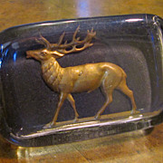 SOLD Vintage Glass Paperweight With Metal Stag