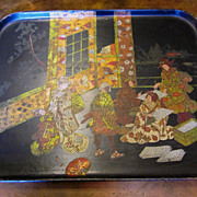 Antique Papier Mache Oriental Tray, Circa 1900