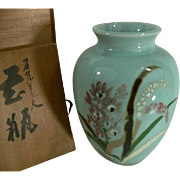 Beautiful Japanese CELADON Vase Orchids Motif with Box