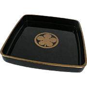 Japanese Taka Makie- Lacquer Medium Tray With Kamon Leaf Gold