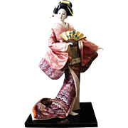 Gorgeous Japanese Geisha Doll Collectible Doll Gofun Silk Kimono Holding Sensu Life-like