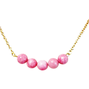SOLD Pinkalicious Cute Gold Filled Necklace Gemstone Pink Morganite Circle Pendant Gifts