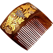 Grapes And Vines Paste Stones 18k Gold Inlay Celluloid Back Comb
