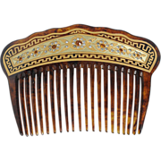 22k Gold Inlay Back Comb — Incredible Condition