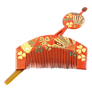 Fans and Clovers Japanese Hair Ornaments Hirauchi and Kushi Set