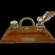 Oak Desk Set with Glass Ink Wells Vintage