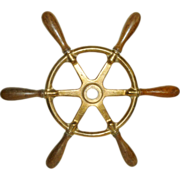 SALE Nautical Antique Bronze Ship Wheel Wood Handles