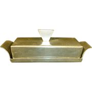 REDUCED Pewter Covered Butter Dish Mid - Century Modern