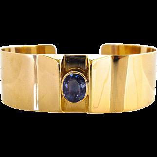 Vintage 14K Yellow Gold & Sapphire Cuff Bracelet