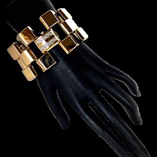 "Vintage Retro 1940s Extra Wide 1.5"" Tank Link Bracelet Watch 14K Gold 77 grams"