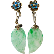 Antique Natural Jadeite Jade Leaf Cloisonne Enamel Silver Filagree Drop Dangle Earrings