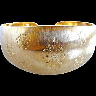 Vintage 18K Gold Wide Italian Brushed Florentine Finish Etched Cuff Bracelet