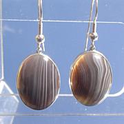 SALE Sterling Smokey Grey Agate Dangle Earrings