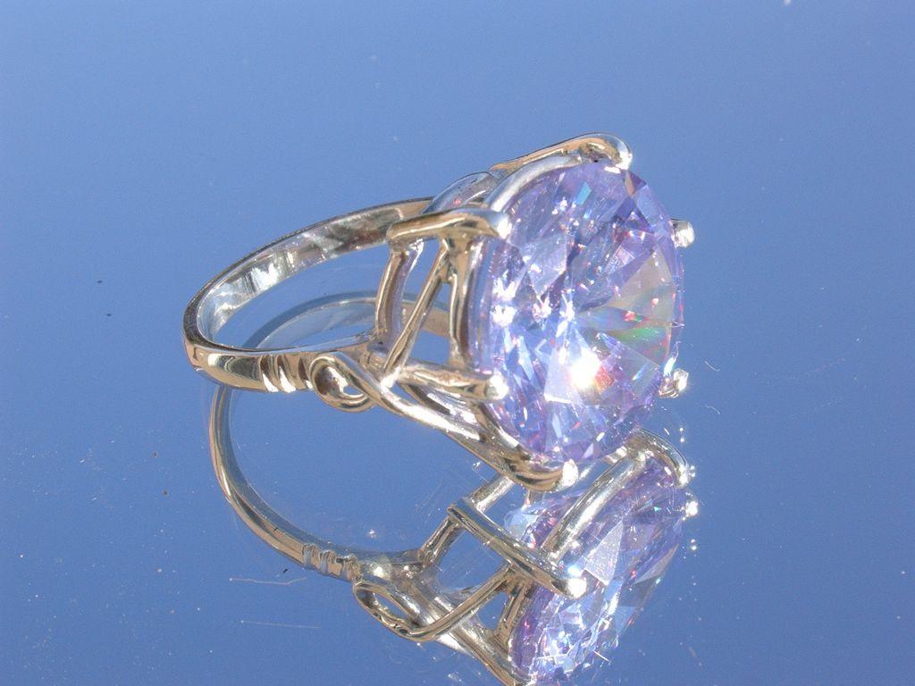 Sterling Large Amethyst (Man Made) Gemstone Incredible Ladies Ring