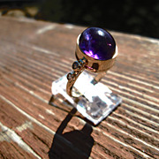 9kt Yellow Gold Cabochon Amethyst/Multi Diamond Ladies Ring
