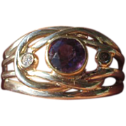 SOLD Sterling Silver/9kt Yellow Gold Amethyst Diamond Ladies Ring