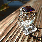 Sterling/9kt Yellow and Pink Gold Square Amethyst and Diamond Ladies Ring