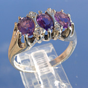 Sterling/Multi Amethyst and Cubic Zirconia Ladies Ring
