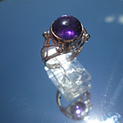Sterling/9kt Pink Gold Cabochon Amethyst Ladies Ring