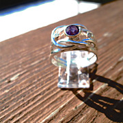 Sterling Silver/9kt Amethyst Diamond Ladies Ring