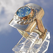 Sterling 9kt Pink Gold Blue Topaz Ladies Ring