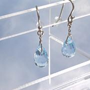 14kt White Gold Blue Topaz Briolette Droplet Earrings