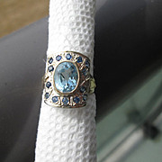 Sterling Silver/9kt Yellow Gold Blue Topaz and Multi Sapphire Ladies RIng