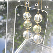 Sterling/Vermeil Triple Citrine Briolette Spherical Dangle Earrings