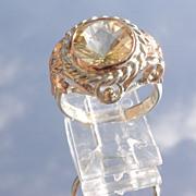 Sterling/9kt  Round Briolette Cut Citrine/Multi Diamond Ladies Ring
