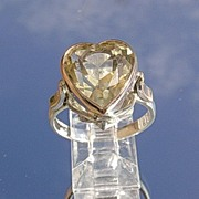 Sterling Silver/10kt Pink Gold Citrine Heart Ladies Ring