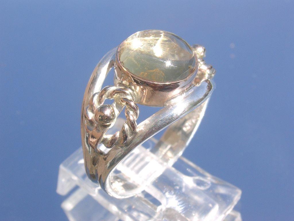 Sterling/9kt Pink Gold Spherical Citrine Ladies Ring