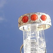 Sterling Multi Coral/Diamond Band/Ring