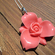 Sterling Man-Made Coral Trillium Flower Pendant with Chain