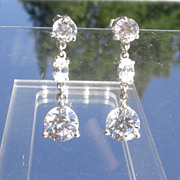 Sterling Multi Dangle Cubic Zirconia Earring - Post/Butterfly Closure