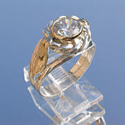 Sterling/9kt Yellow Gold Round Cubic Zirconia in Floral Setting Ladies Ring