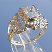 Sterling/9kt Ornate Cubic Zirconia Emerald Cut Ladies Ring
