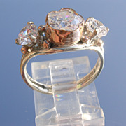 Sterling/9kt Pink Gold Flower/and Round Cut Cubic Zirconia Ladies Ring