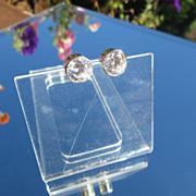 Sterling-14kt Gold Post Large Round SWAROVSKI Cubic Zirconia Stud Earrings