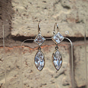 Sterling/14kt Diamond/Marquise Cut Cubic Zirconia Dangle Earrings