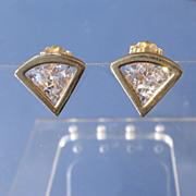 14kt Triangle Shape Cubic Zirconia Stud Earrings