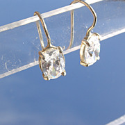 Sterling Oval Cut Cubic Zirconia Dangle Earrings
