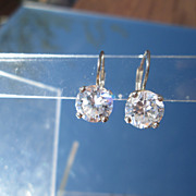 Sterling/14kt Two Carat Cubic Zirconia Earrings European Back Closure