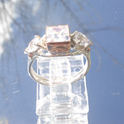 Sterling/9kt Square/Pear Shape Cubic Zirconia Ladies Ring