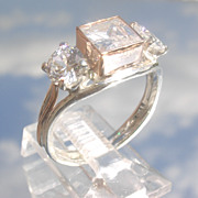 Sterling/9kt Square/Round Cubic Zirconia Ladies Ring