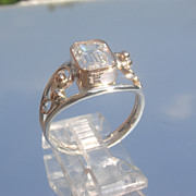 Sterling/9kt Emerald Cut Cubic Zirconia Ladies Ring